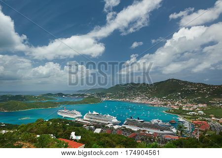 Panoramic Aerial View On Caribbean Island