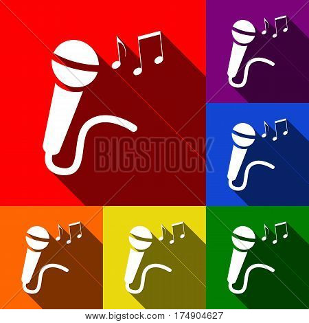 Microphone sign with music notes. Vector. Set of icons with flat shadows at red, orange, yellow, green, blue and violet background.