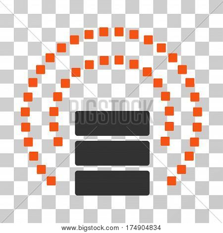 Database Sphere Shield icon. Vector illustration style is flat iconic bicolor symbol orange and gray colors transparent background. Designed for web and software interfaces.
