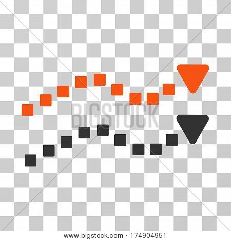 Dotted Trend Lines icon. Vector illustration style is flat iconic bicolor symbol orange and gray colors transparent background. Designed for web and software interfaces.