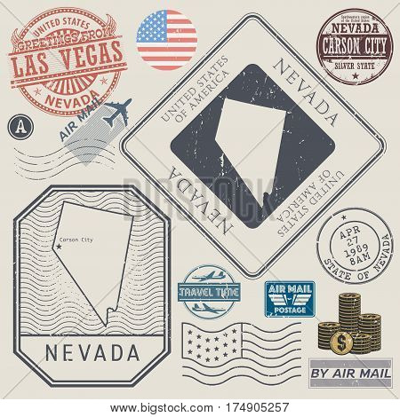 Retro vintage postage stamps set Nevada United States theme vector illustration