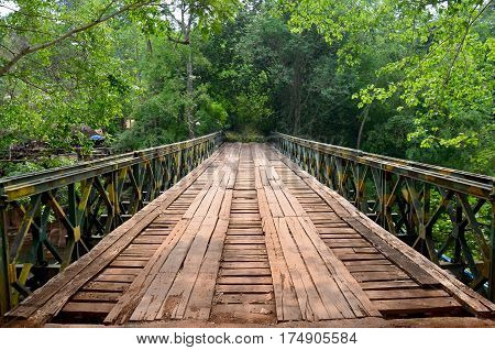 Wooden With Steel Bridge For Cross Over Stream River From Tad Pha Suam Waterfalls