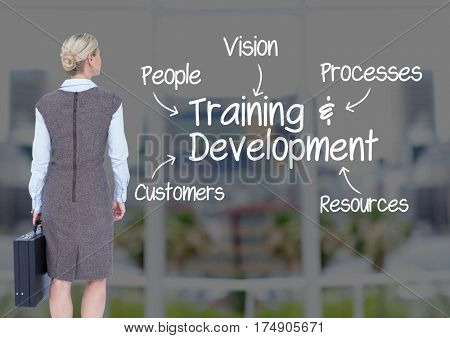 Digital composition of businesswoman standing with business development concepts against cityscape