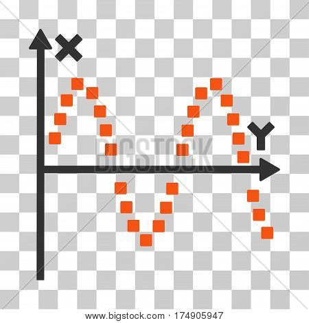 Sine Plot icon. Vector illustration style is flat iconic bicolor symbol orange and gray colors transparent background. Designed for web and software interfaces.