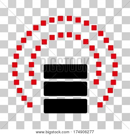Database Sphere Shield icon. Vector illustration style is flat iconic bicolor symbol intensive red and black colors transparent background. Designed for web and software interfaces.