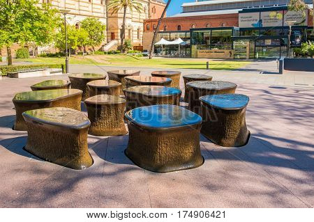 Adelaide Australia - November 11 2016: Fountain near South Australian Museum located on North Terrace in Adelaide CBD on a day