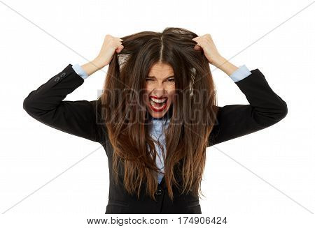 Angry Businesswoman Pulling Her Hair Out
