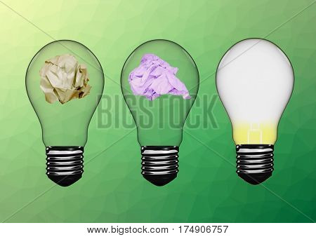 Digital composition of electric bulbs with crumpled paper against green background