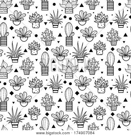Vector Black Seamless Repeat Pattern With Growing Succulents and Cacti In Pots. Trendy tropical design for textile, fabric, packaging, backdrops, wallpaper. Surface pattern design.