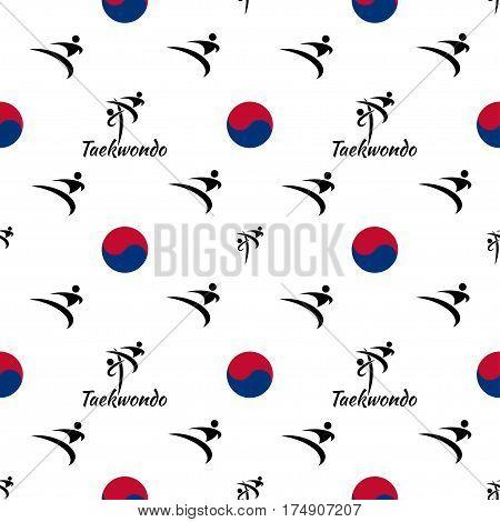 seamless pattern taekwondo on a white background