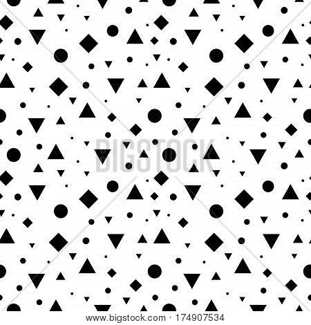 Vector Black and White Vintage Geometric Shapes Seamless Repeat Pattern Background. Perfect For Fabric, Packaging, Invitations, Wallpaper, Scrapbooking. Surface pattern design.