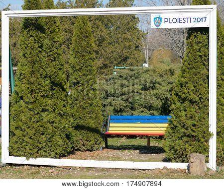 Bucov Ploiesti Romania - March 04 2017 : Ploiesti 2017 photo frame at Memorial Park Constantin Stere