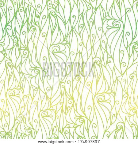 Vector Green Gradient Abstract Scrolls Swirls Seamless Pattern Background. Great for elegant texture fabric, cards, wedding invitations, wallpaper. Surface pattern design.