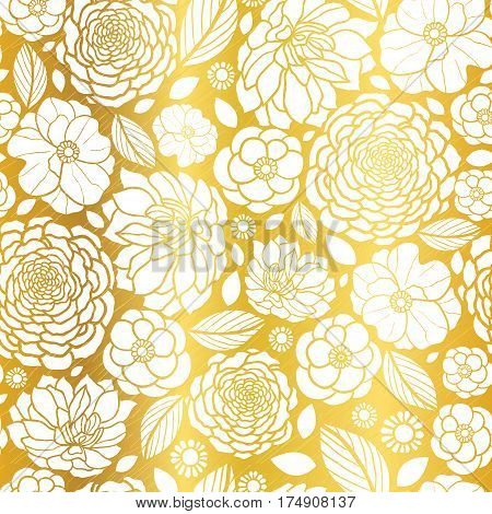 Vector Gold and White Mosaic Flowers Seamless Repeat Pattern Background Design. Great For Elegant wedding invitations, anniversary, packaging, fabric, wallpaper. Surface pattern design.