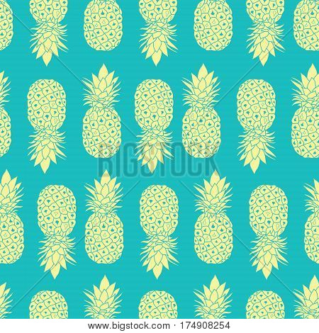 Fresh Blue Yellow Pineapples Geometric Vector Repeat Seamless Pattrern in Grey and Yellow Colors. Great for fabric, packaging, wallpaper, invitations. Surface pattern design.
