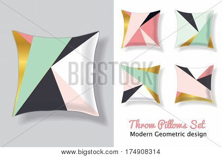 Set Of Pink and Mint Green Throw Pillows In Matching Unique Modern Abstract Geometric Triangles Patterns. Square Shape. Editable Vector Template. Surface Pattern Textile Design.
