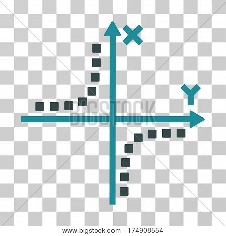 Hyperbola Plot icon. Vector illustration style is flat iconic bicolor symbol soft blue colors transparent background. Designed for web and software interfaces.