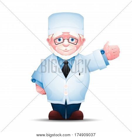 Elderly medical worker pointing in one direction. Full length portrait of senior man in white lab coat isolated on white background.