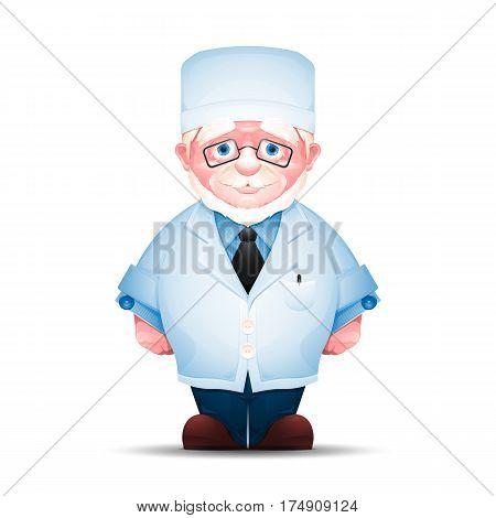 Full length portrait of senior man in white lab coat. Charming elderly medical worker isolated on white background.