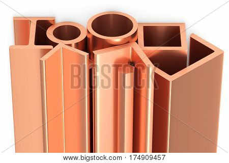 Shiny Rolled Copper Metal Products On White