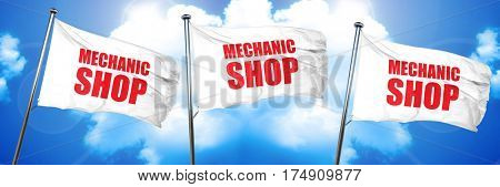 mechanic shop, 3D rendering, triple flags