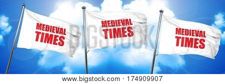 medieval times, 3D rendering, triple flags