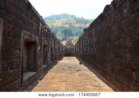 Pathway Inside Wat Phu Or Vat Phou Castle