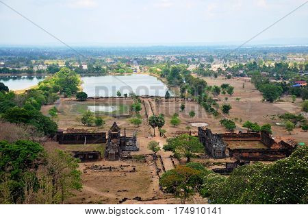 Aerial View Landscape Of Archaeological Site Wat Phu Or Vat Phou