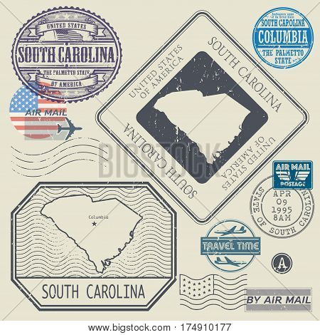 Retro vintage postage stamps set South Carolina United States theme vector illustration