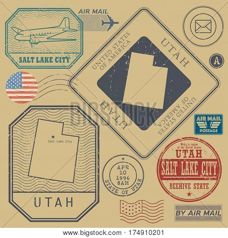 Retro vintage postage stamps set Utah United States theme vector illustration