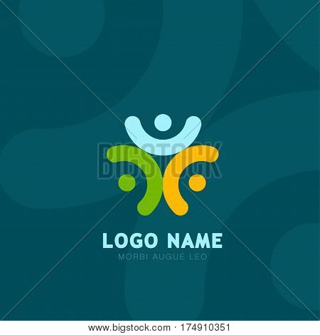 People logo. Group of three people logos. People logo Social network symbols for business. People logo Color icons.