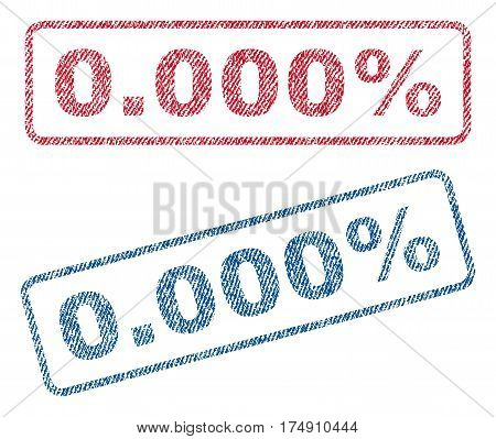 0.000 Percent text textile seal stamp watermarks. Blue red fabric vectorized texture. Vector caption inside rounded rectangular banner. Rubber emblem with fiber textile structure.