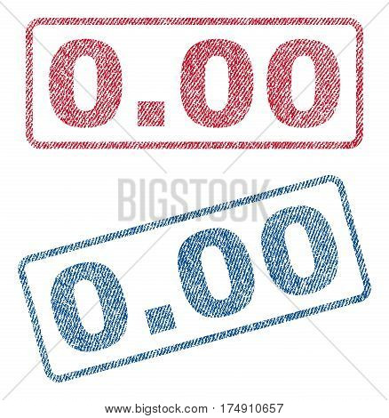 0.00 text textile seal stamp watermarks. Blue red fabric vectorized texture. Vector caption inside rounded rectangular banner. Rubber emblem with fiber textile structure.