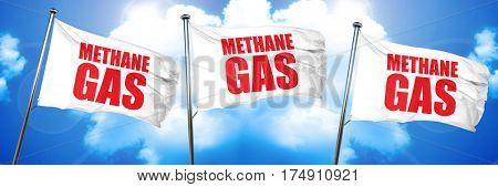 methane gas, 3D rendering, triple flags
