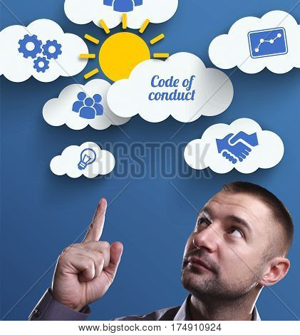 Business, Technology, Internet And Marketing. Young Businessman Thinking About: Code Of Conduct