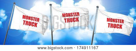 monster truck sign background, 3D rendering, triple flags