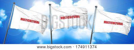 multicultural, 3D rendering, triple flags