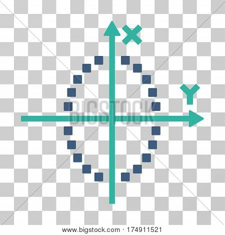 Ellipse Plot icon. Vector illustration style is flat iconic bicolor symbol cobalt and cyan colors transparent background. Designed for web and software interfaces.