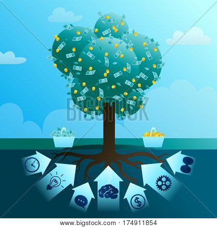 The big monetary tree of business which is grown up by means of the money enclosed mind, creativity, efforts, time, negotiations, invested and maturity. Vector flat illustration.