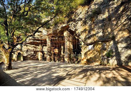 Rocamadour, one of the most beautiful village in France, the subterranean church of Saint Amadour