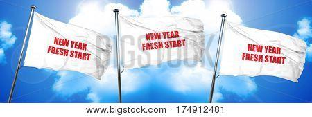 new year fresh start, 3D rendering, triple flags