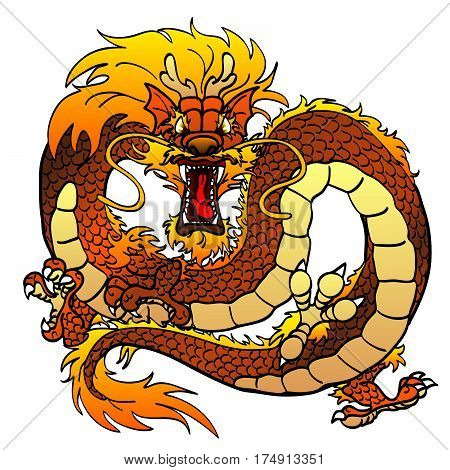 Furious dark-yellow orange light-brown ocherous earth Asian chinese dragon on white background.Cartoon monster traditional culture. Vector illustration isolated.