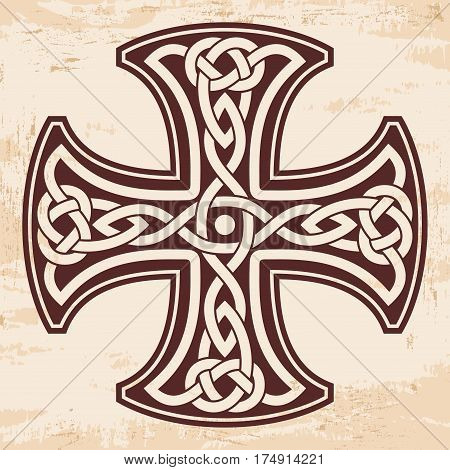 Celtic national ornament in the shape of a cross. Brown drawing on a beige background with aging effect.