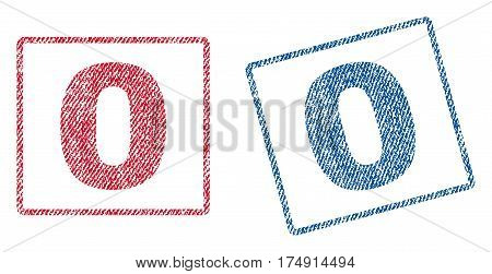 0 text textile seal stamp watermarks. Blue red fabric vectorized texture. Vector caption inside rounded rectangular shape. Rubber sticker with fiber textile structure.