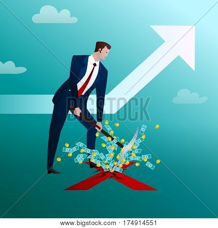 The businessman hits with a pick into the center of the cross drawn on the earth and from the formed break money takes off. Successful planned start apostle Business concept. Vector illustration flat