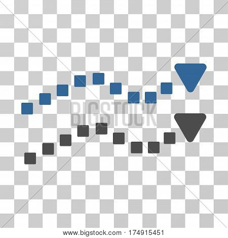 Dotted Trend Lines icon. Vector illustration style is flat iconic bicolor symbol cobalt and gray colors transparent background. Designed for web and software interfaces.