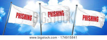 Phising fraud background, 3D rendering, triple flags