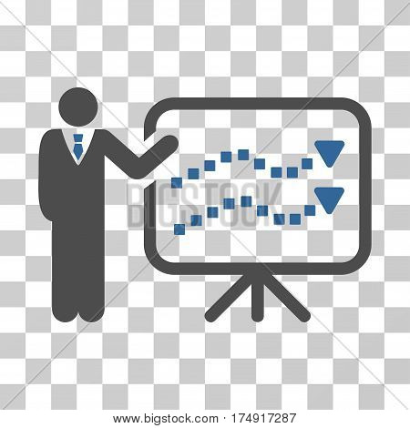 Trends Lecture icon. Vector illustration style is flat iconic bicolor symbol cobalt and gray colors transparent background. Designed for web and software interfaces.