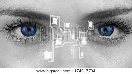 Blue eye of woman looking at cloud computing digital interface