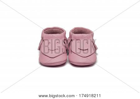 Childs Light Pink Booties On A White Background